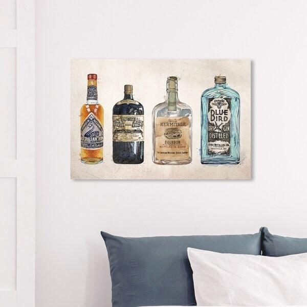 Wynwood Studio 'Vintage Liquors' Drinks and Spirits Wall Art Canvas Print - Blue, Orange