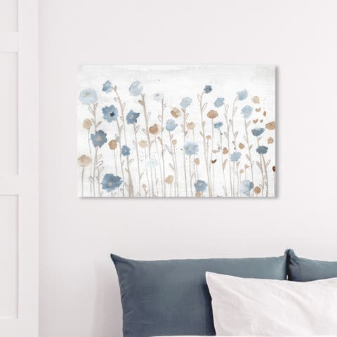 Wynwood Studio 'Beautiful Growth Light Blue' Floral and Botanical Wall Art Canvas Print - Blue, Brown