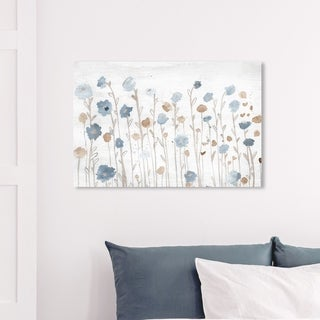 Wynwood Studio 'Beautiful Growth Light Blue' Floral and Botanical Wall Art Canvas Print - Blue, Brown