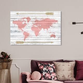 Wynwood Studio 'Mapamudi Boho Blush' Maps and Flags Wall Art Canvas Print - Pink, Gold