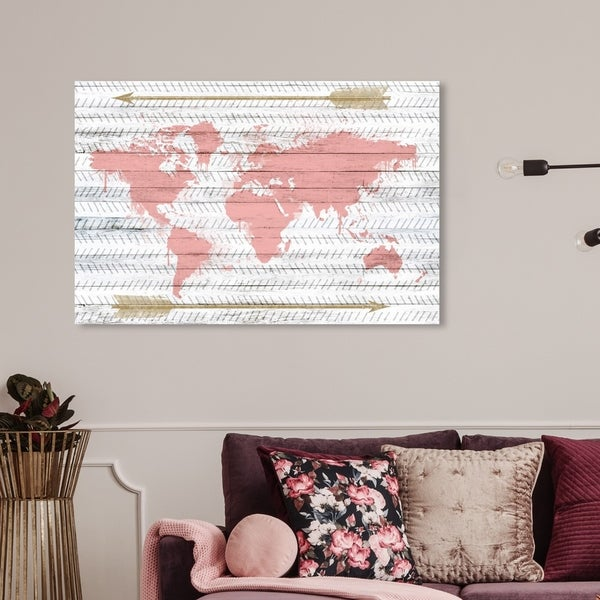 Wynwood Studio 'Mapamudi Boho Blush' Maps and Flags Wall Art Canvas Print - Pink, Gold. Opens flyout.