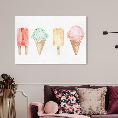 Wynwood Studio 'Ice Cream You Scream' Food and Cuisine Wall Art Canvas Print - White, Pink