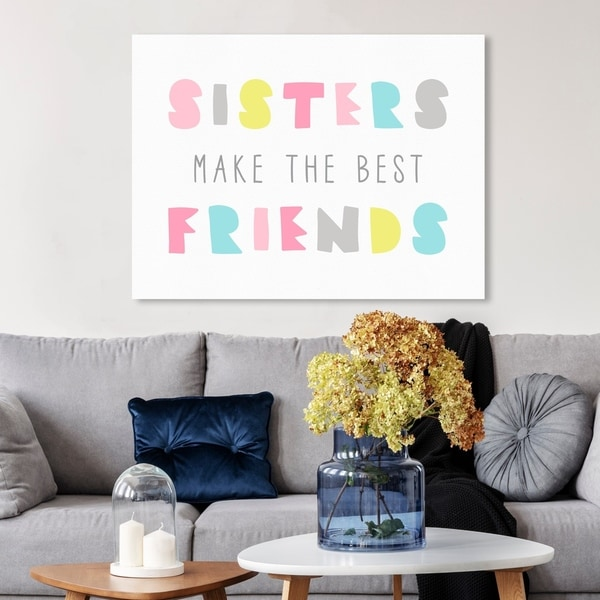 Wynwood Studio 'Best Friend Sisters Bright' Typography and Quotes Wall Art Canvas Print - White, Pink