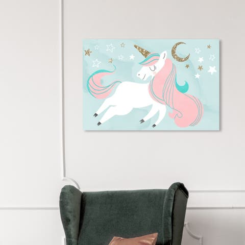 Wynwood Studio 'Unicorn and the Moon' Fantasy and Sci-Fi Wall Art Canvas Print - Pink, Gold