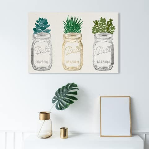 Wynwood Studio 'Mason Jars and Succulents' Floral and Botanical Wall Art Canvas Print - Gold, White