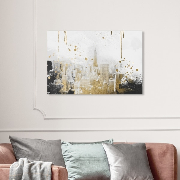Wynwood Studio 'Golden City Lights' Cities and Skylines Wall Art Canvas Print - Gold, White