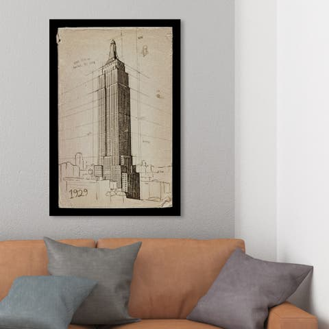 Wynwood Studio 'Empire State Building 1929' Architecture and Buildings Wall Art Canvas Print - Brown, Black