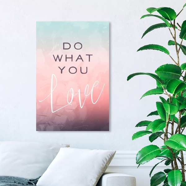 Wynwood Studio 'Do What You Love' Typography and Quotes Wall Art Canvas Print - Pink, Blue