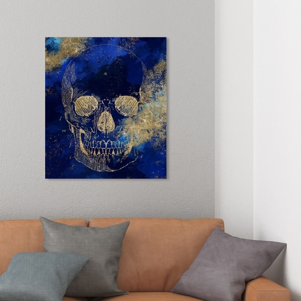 Wynwood Studio 'Gold Skull' Symbols and Objects Wall Art Canvas Print - Gold, Blue