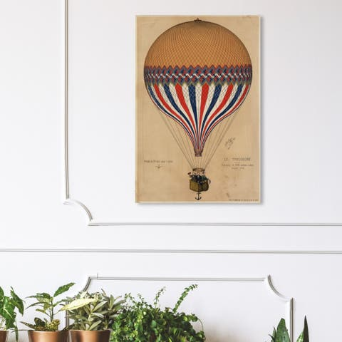 Wynwood Studio 'Le Tricolore Balloon 1874' Transportation Wall Art Canvas Print - Brown, Red