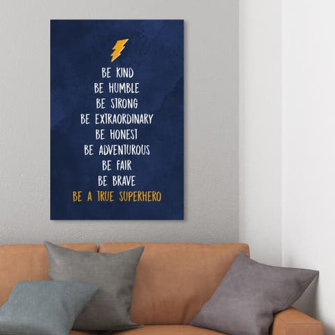 Wynwood Studio 'Be a True Superhero' Typography and Quotes Wall Art Canvas Print - Blue, White