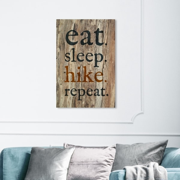 Wynwood Studio 'Eat Sleep Hike Repeat' Typography and Quotes Wall Art Canvas Print - Black, Brown