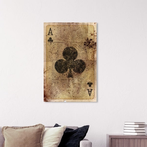 Wynwood Studio 'Ace of Clubs' Entertainment and Hobbies Wall Art Canvas Print - Brown, Black