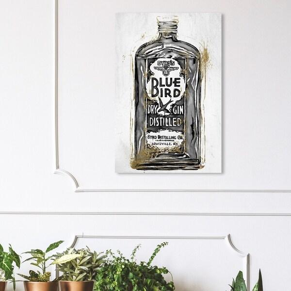 Wynwood Studio 'Bird Gin Night' Drinks and Spirits Wall Art Canvas Print - Black, White