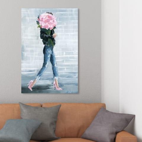 Wynwood Studio 'Walk This City' Fashion and Glam Wall Art Canvas Print - Blue, Pink
