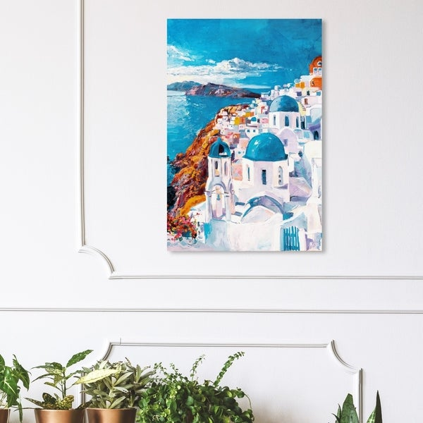 Wynwood Studio 'Beautiful Day in Greece' World and Countries Wall Art Canvas Print - White, Blue