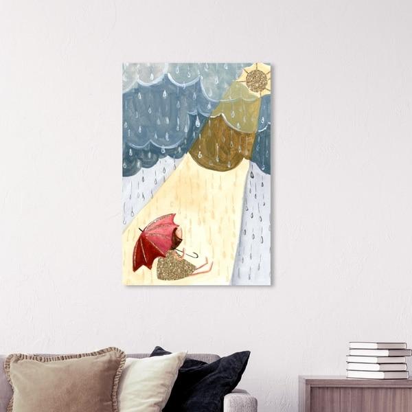 Wynwood Studio 'Rain and Sun Girl' Nature and Landscape Wall Art Canvas Print - Blue, Yellow