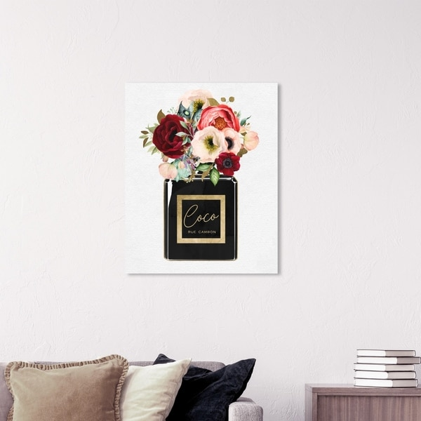 Wynwood Studio 'Floral Gold Perfume' Fashion and Glam Wall Art Canvas Print - Gold, Black