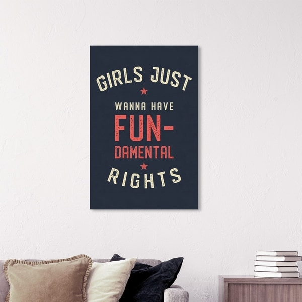 Wynwood Studio 'Girls Wanna Have Fun' Typography and Quotes Wall Art Canvas Print - Blue, Red