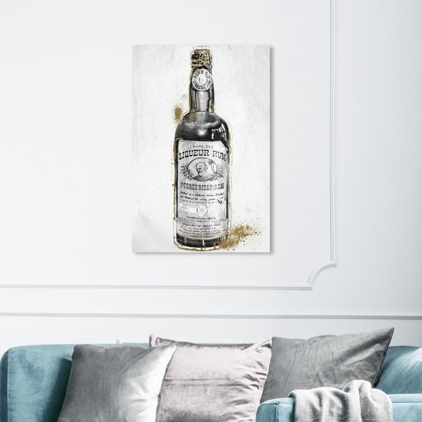 Wynwood Studio 'Rum Night' Drinks and Spirits Wall Art Canvas Print - Black, White