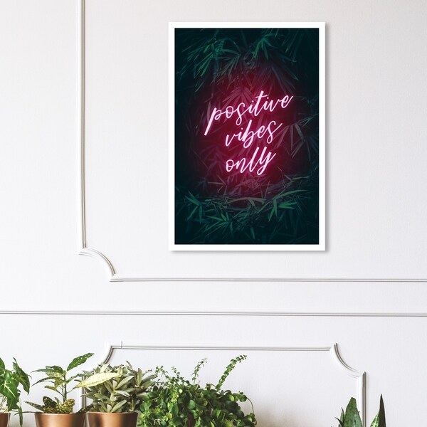 Wynwood Studio 'Positive Vibes Only' Typography and Quotes Wall Art Canvas Print - Pink, Green