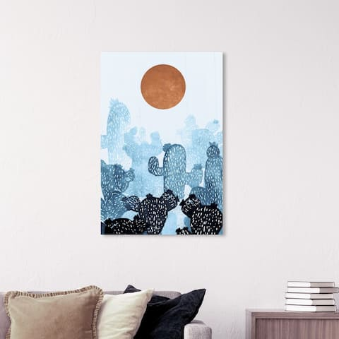 Wynwood Studio 'Blue Cactus Copper Sun' Floral and Botanical Wall Art Canvas Print - Blue, Orange