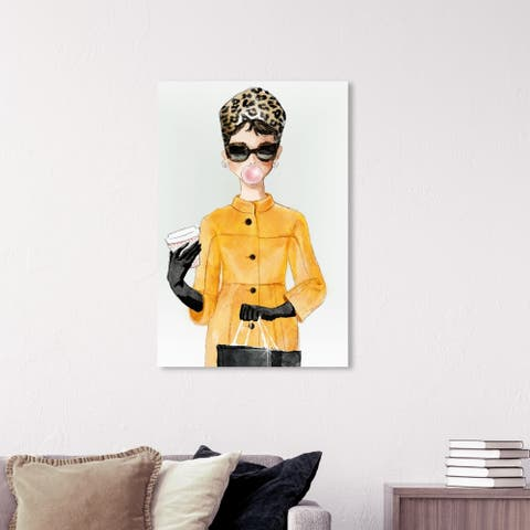 Wynwood Studio 'Charade in Yellow Coat' Fashion and Glam Wall Art Canvas Print - Yellow, White
