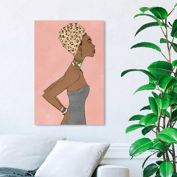 Wynwood Studio 'Prowess Queen Blush' Fashion and Glam Wall Art Canvas Print - Pink, Brown