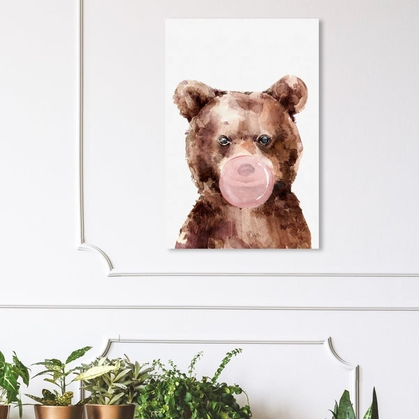 Wynwood Studio 'Brown Bear Bubblegum' Animals Wall Art Canvas Print - Brown, White
