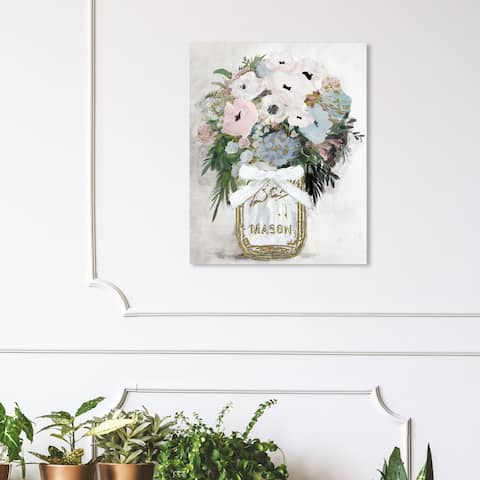 Wynwood Studio 'Anemone Mason Jar' Floral and Botanical Wall Art Canvas Print - Gold, White