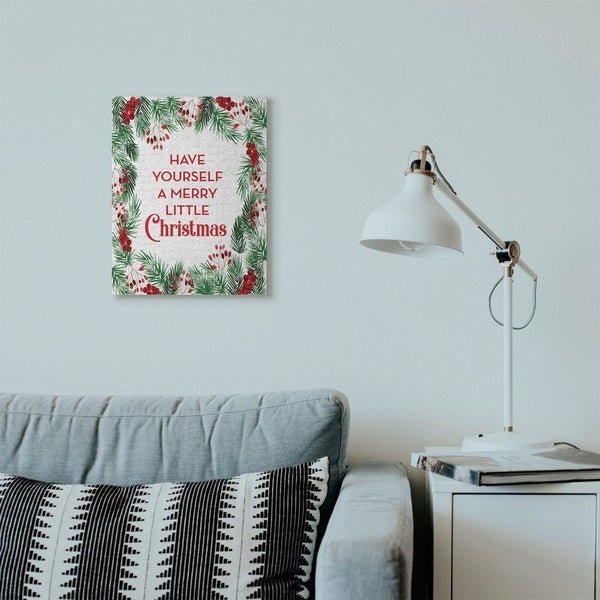 Stupell Industries Merry Little Christmas Pine Wreath Holiday Word Design Canvas Wall Art, Proudly Made in USA