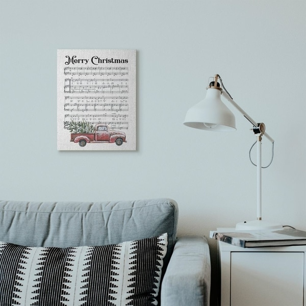 Stupell Industries Merry Christmas Silent Night Composition Holiday Design Canvas Wall Art, Proudly Made in USA