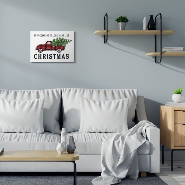 Stupell Industries Look A Lot Like Christmas Plaid Truck Holiday Word Design Canvas Wall Art, Proudly Made in USA
