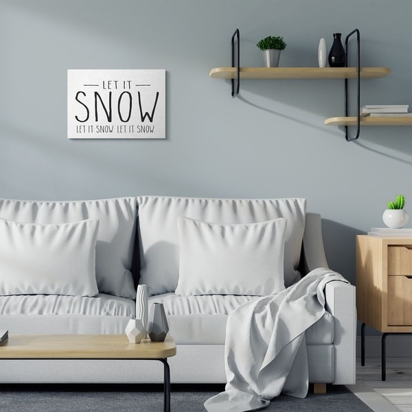 Stupell Industries Let It Snow Christmas Holiday Black And White Word Design Canvas Wall Art, Proudly Made in USA