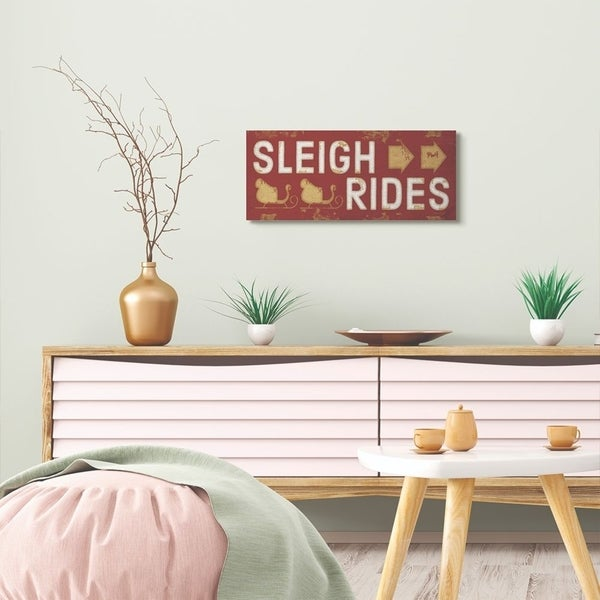 Stupell Industries Sleigh Rides Sign Red Holiday Christmas Word Design Canvas Wall Art, Proudly Made in USA
