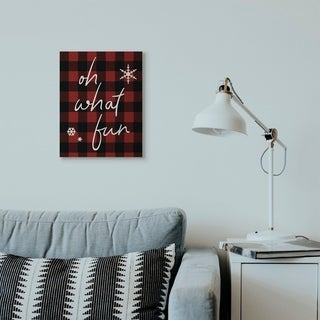 Link to Stupell Industries Oh What Fun Christmas Holiday Red Plaid Word Design Canvas Wall Art, Proudly Made in USA Similar Items in Christmas Decorations