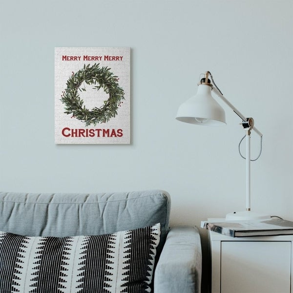 Stupell Industries Merry Christmas Wreath Holiday Word Design Canvas Wall Art, Proudly Made in USA