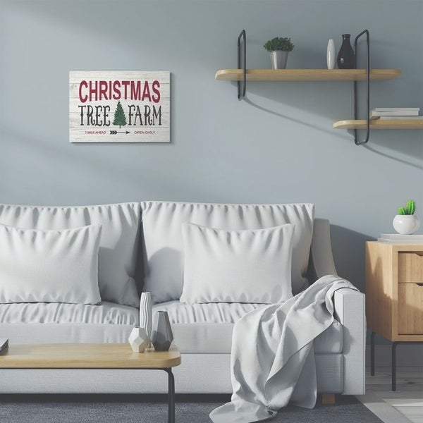 Stupell Industries Christmas Trees Farm Wood Texture Holiday Word Design Canvas Wall Art, Proudly Made in USA