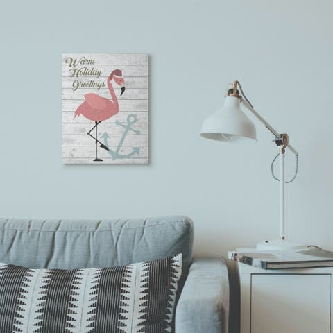 Stupell Industries Warm Holiday Greetings Pink Flamingo Wood Texture Design Canvas Wall Art, Proudly Made in USA
