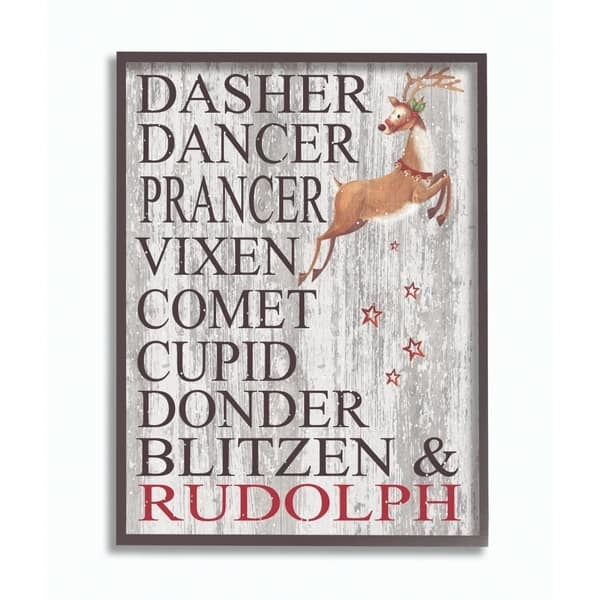 Multi-Color Stupell Industries Reindeer Names Grey Wood Texture Holiday Christmas Word Design Framed Black