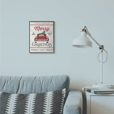 Stupell Industries Merry Christmas Red Truck Wood Texture Holiday Word Design Framed Wall Art, Proudly Made in USA