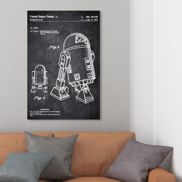 Wynwood Studio 'Robot II 1979 Chalkboard' Movies and TV Wall Art Canvas Print - Black, White