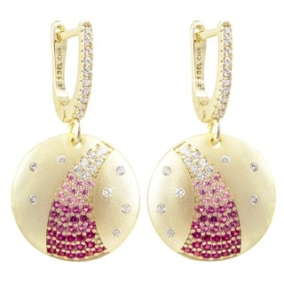 Luxiro Matte Gold Finish Lab-created Ruby Stones with CZ's Dangling Circle Earrings