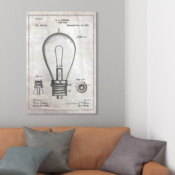 Wynwood Studio 'Edison Lamp Base 1890' Symbols and Objects Wall Art Canvas Print - Gray, Black