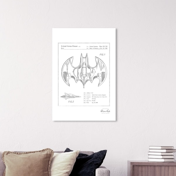 Wynwood Studio 'Aerial bat Toy 1991, Silver Metallic' Movies and TV Wall Art Canvas Print - Gray, White