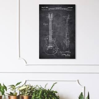 Wynwood Studio 'Gibson Les Paul Guitar 1955 Chalkboard' Music and Dance Wall Art Canvas Print - Black, White