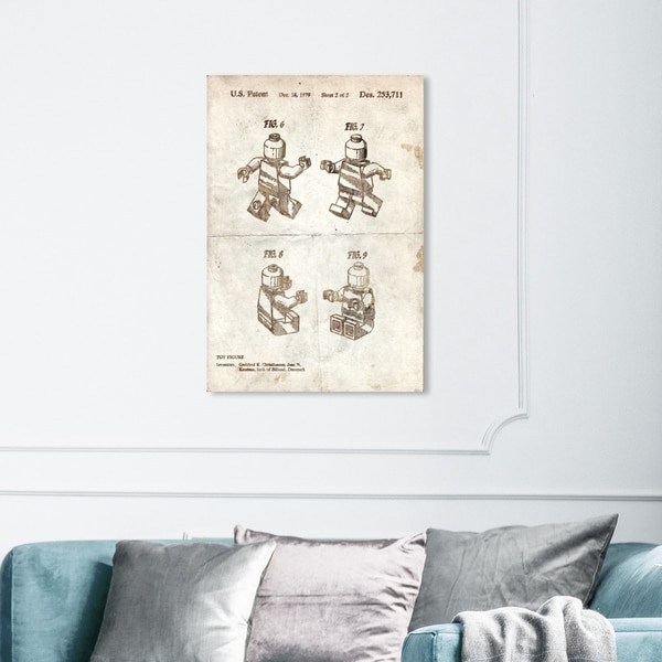 Wynwood Studio 'Lego Toy Figure #2 1979 Parchment' Symbols and Objects Wall Art Canvas Print - Brown, White
