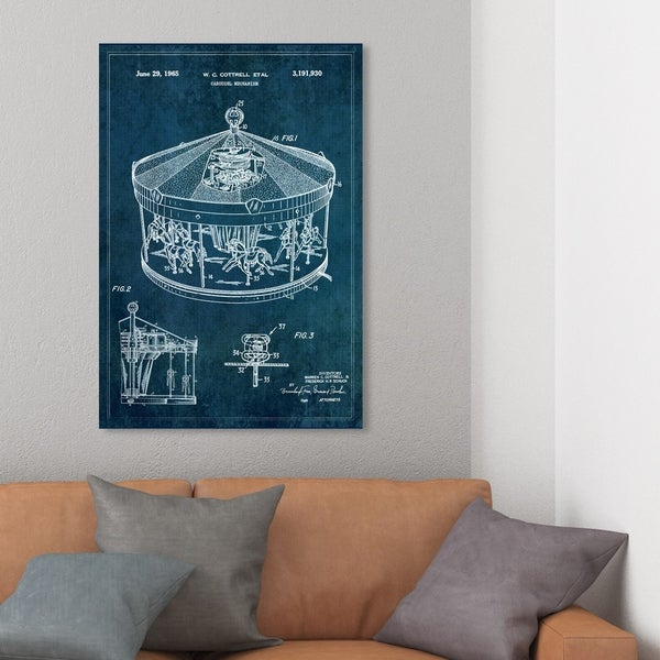 Wynwood Studio 'Carousel Mechanism 1965' Symbols and Objects Wall Art Canvas Print - Blue, White