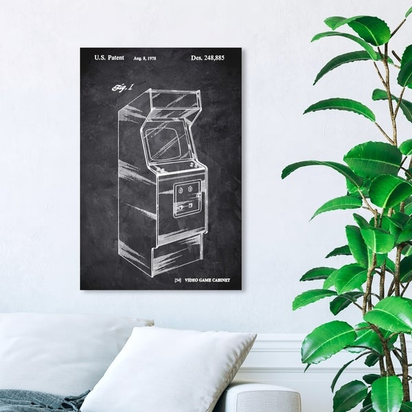 Wynwood Studio 'Game Cabinet 1978 Chalkboard' Entertainment and Hobbies Wall Art Canvas Print - Black, White