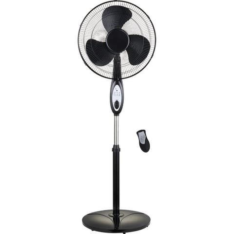 Optimus 16 Inch Oscillating Stand Fan with Remote Control F-1672BK